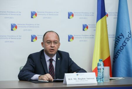 Deschiderea de către ministrul afacerilor externe Bogdan Aurescu a Forumului Tinerilor din cadrul Comunității Democrațiilor