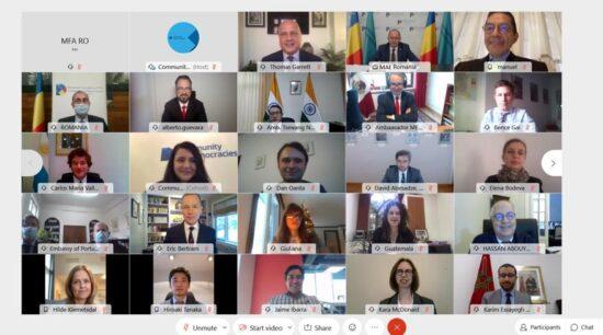 Deschiderea de către ministrul afacerilor externe Bogdan Aurescu a reuniunii Consiliului Guvernator al Comunității Democrațiilor