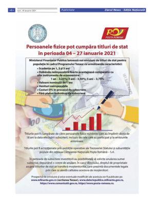 ANAF: Persoanele fizice pot cumpara titluri de stat in perioada 04-27 ianuarie 2021