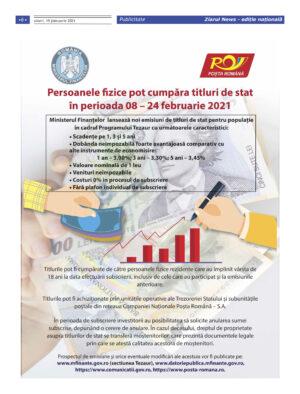 ANAF: Persoanele fizice pot cumpara titluri de stat in perioada 08-24 februarie 2021