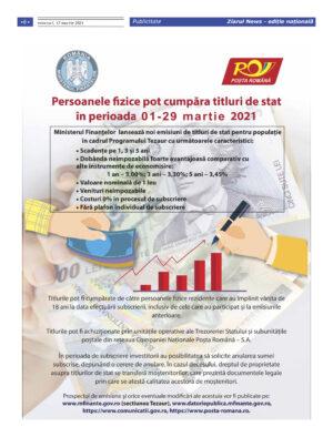Persoanele fizice pot cumpara titluri de stat in perioada 01-29 martie 2021