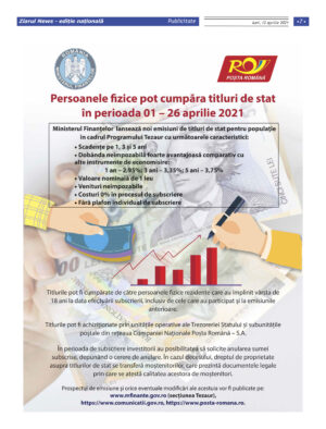 ANAF: Persoanele fizice pot cumpara titluri de stat in perioada 01-26 aprilie 2021