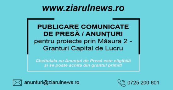 COMUNICAT PRIVIND INCEPEREA PROIECTULUI PRIVIND PROGRAMUL OPERATIONAL DE COMPETITIVITATE 2014-2020 – GRANT Capital de lucru -Masura 2