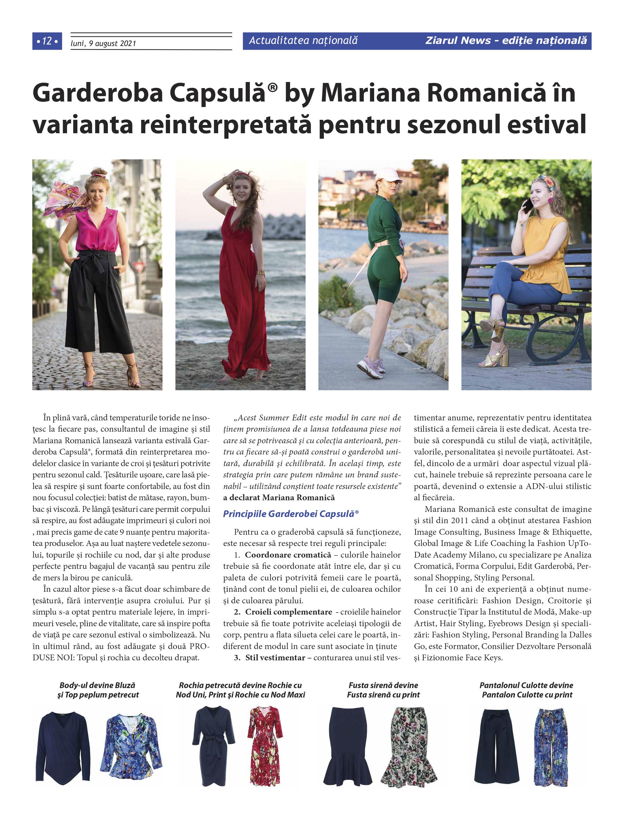 Garderoba Capsulă® by Mariana Romanică în varianta reinterpretată pentru sezonul estival